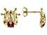 Red Mahaleo Ruby 10k Yellow Gold Ladybug Earrings .20ctw