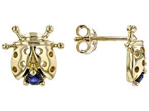 Blue Sapphire 10k Yellow Gold Ladybug Earrings .15ctw