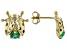 Green Sakota Emerald 10k Yellow Gold Children's Ladybug Stud Earrings .14ctw