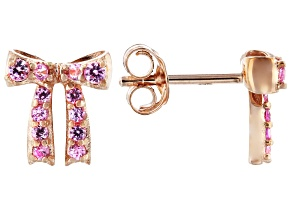 Pink Sapphire 10k Rose Gold Bow Stud Earrings .18ctw