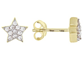 White Zircon 10k Yellow Gold Star Stud Earrings .17ctw