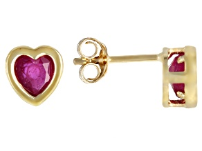 Red Mahaleo® Ruby Child's 10k Yellow Gold Heart Stud Earrings .56ctw