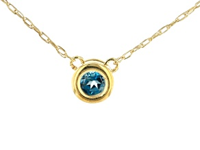 London Blue Topaz 10k Yellow Gold Child's Necklace .11ct