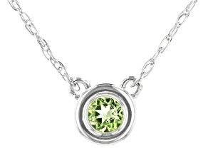 Green Peridot Rhodium Over 10k White Gold Necklace .11ct