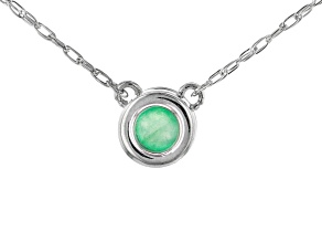Green Sakota Emerald Solitaire Rhodium Over 10k White Gold Child's Necklace  .10ct