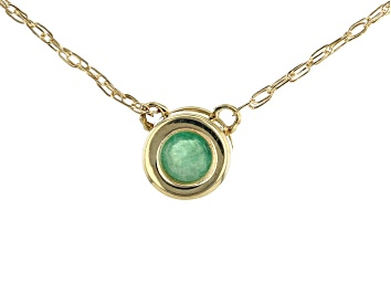 Picture of .10ct Sakota Emerald Solitaire, 10k Yellow Gold Child's Necklace.