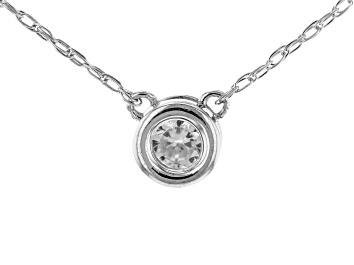 Picture of White Zircon Rhodium Over 10k White Gold Child's  Necklace .11ct