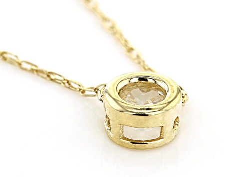 White Zircon 10k Yellow Gold Child's Necklace .11ct
