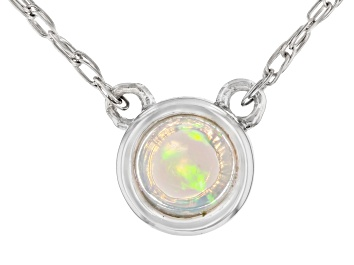 Picture of Multi Color Ethiopian Opal Rhodium Over 10k White Gold Necklace .07ct