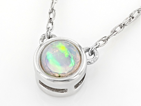 Multi Color Ethiopian Opal Rhodium Over 10k White Gold Necklace .07ct