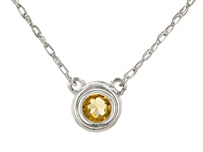 Golden Citrine Rhodium Over 10k White Gold Child's Necklace .10ct