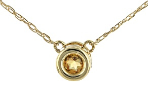 Golden Citrine 10k Yellow Gold Child's Necklace .10ct