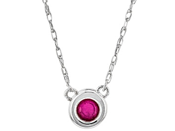 Picture of Red Mahaleo® Ruby Rhodium Over 10k White Gold Child's Necklace .11ct