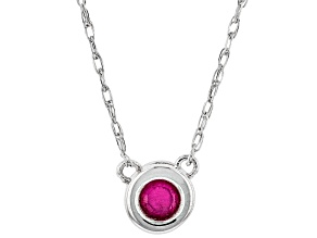 Red Mahaleo® Ruby Rhodium Over 10k White Gold Child's Necklace .11ct
