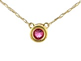 Red Mahaleo® Ruby 10k Yellow Gold Child's Necklace .11ct