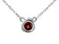 Red Garnet Rhodium Over 10k White Gold Child's Necklace .13ct