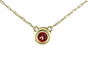 Red Garnet 10k Yellow Gold Child's Necklace .13ct