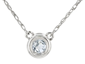 Blue Aquamarine Rhodium Over 10k White Gold Child's Necklace .11ct