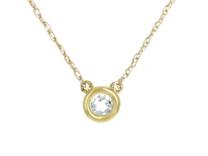 Blue Aquamarine 10k Yellow Gold Child's Necklace .11ct