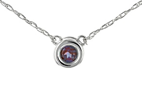 Teal Lab Created Alexandrite Rhodium Over 10k White Gold Child's Necklace