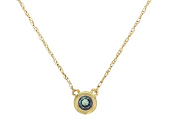 Picture of Teal Lab Created Alexandrite 10k Yellow Gold Child's Necklace .17ct