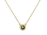 Teal Lab Created Alexandrite 10k Yellow Gold Child's Necklace .17ct
