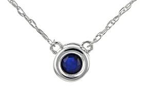 Blue Sapphire Rhodium Over 10k White Gold Child's Necklace .10ct