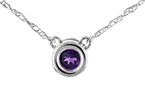 Purple African Amethyst Rhodium Over 10k White Gold Child's Necklace .10ct