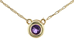 Purple African Amethyst 10k Yellow Gold Child's Necklace .10ct