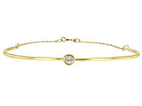 White Zircon Solitaire 10k Yellow Gold Bracelet  .11ctw