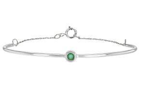 Green Sakota Emerald Rhodium Over 10k White Gold Bracelet .10ct