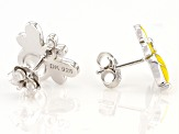 Yellow Enamel And Rhodium Over Silver Children's Bee Stud Earrings .03ctw