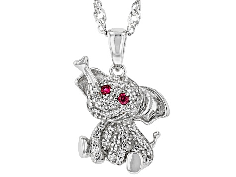 Red lab created sapphire rhodium over sterling silver elephant pendant with chain 0.32ctw