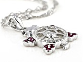 Red Lab Created Ruby Rhodium Over Silver Children's Turtle Pendant With Chain .36ctw