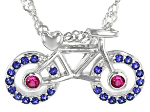 Lab Created Blue Sapphire Rhodium Over Silver   Children's Bike Pendant with Chain .28ctw