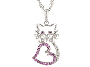 Pink Lab Created Sapphire Rhodium Over Silver Children's Cat Pendant With Chain .23ctw