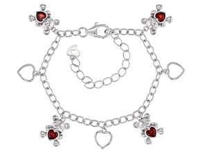 Red garnet rhodium over silver teddy bear children's bracelet .98ctw