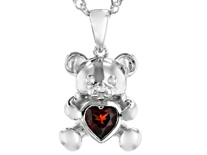 Red Garnet Rhodium Over Silver Children's Pendant With Chain .45ct