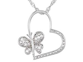 White zircon rhodium over silver children's pendant with chain .12ctw