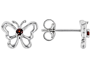 Red garnet rhodium over silver children's butterfly earrings .08ctw