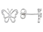 White zircon rhodium over silver children's butterfly earrings .10ctw