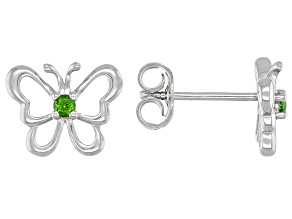 Green chrome diopside rhodium over silver children's butterfly earrings .07ctw