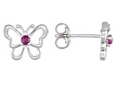Red ruby rhodium over silver children's butterfly earrings .08ctw