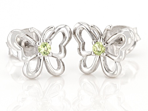 Green peridot rhodium over sterling silver children's butterfly earrings .07ctw