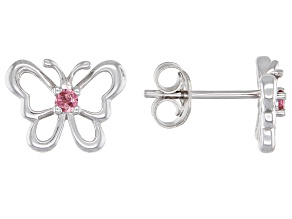 Pink tourmaline rhodium over silver children's butterfly earrings .08ctw