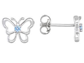 Sky Blue topaz rhodium over silver children's butterfly earrings .07ctw