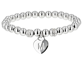 White Zircon Rhodium Over Silver M Initial Children's Bracelet .14ctw