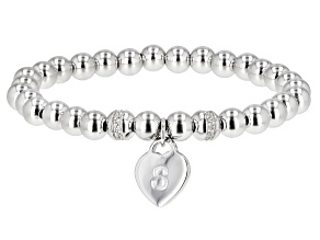 White Zircon Rhodium Over Silver S Initial Children's Bracelet .14ctw