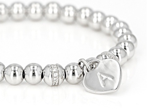 White Zircon Rhodium Over Silver A Initial Children's Bracelet .14ctw