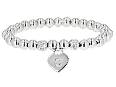 White Zircon Rhodium Over Silver C Initial Children's Bracelet .14ctw